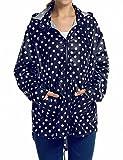 ZEARO Damen Regenmantel Regenjacke Trenchcoat Wasserdicht Parka Regencape Regenponcho, Blau+Weiß Punkten, EU 40-42/(Asian M) - EU 40-42/(Asian M)