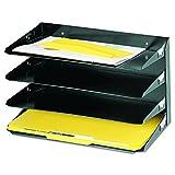 MMF Industries Letter-Format Horizontal Stahl Schreibtisch Organizer 4-stöckig, US-Legal-Papier-Größe schwarz