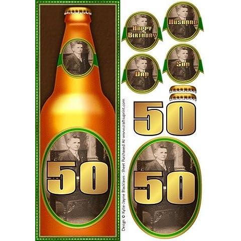 Birra, 50° compleanno, formato grande, con carta rapido, by Kylie Blacklaws-Jayne