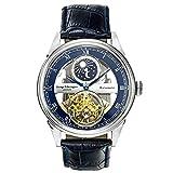 George Etherington Clerkenwell Reloj Automático para Hombre - Dial Analógico de 43mm - Caja Redonda y Pulsera de Cuero Genuino - Calendario Lunar, Resistencia al Agua 3ATM - Acero Azul