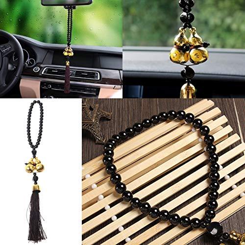 Preisvergleich Produktbild POTGDS Air Zubehör Anhänger Glasperlen vergoldet Doppelkürbis Amulett für EIN sicheres Fahren Segen Glück Auto Rückspiegel Dekor