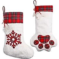 2 Piezas de Media de Navidad Colgante Calcetines de Gran Pata de Perro Media de Navidad