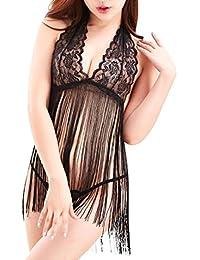 Lencería Sexy Mujer Pijamas Babydoll Sexy Camisones Encaje de Borla con Cordón,Mujer Camisón Conjunto