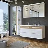 Badmöbel Set GALAXY-V 120 mit Doppelwaschbecken (komplettes Badmöbel Set, WEISS HOCHGLANZ / EICHE MATT)