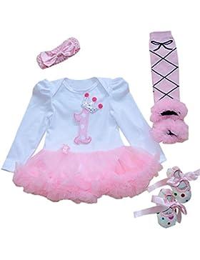 babypreg® Bebé Niña 4pcs Corona Patrón de primer cumpleaños para vestido de tutú, diadema zapatos
