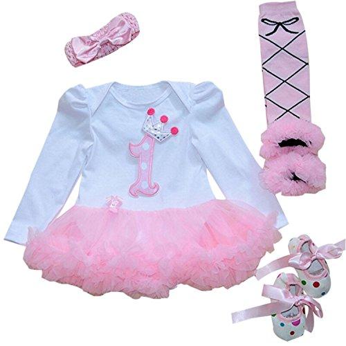 Babypreg® Bebé Niña 4pcs Corona Patrón de primer cumpleaños para vestido de tutú, diadema zapatos(L/9-12 Mes, Rosa)