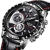 Montres pour Hommes,LIGE Hommes Mode Bande de Cuir imperméable Sport Militaire Horloge Montres Chronographe Calendrier Date Top...