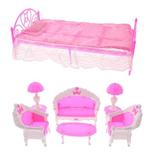 Schlafzimmer und Wohnzimmer Möbel Set aus Kunststoff für Barbie Kelly Puppen Zubehör (Kinder Schlafzimmer Möbel-sets)