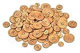 100g Holzknöpfe zum Nähen Handarbeit in 4 Größen Natur VBS Großhandelspackung