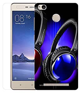 Indiashopers Combo of Blue Headphone HD UV Printed Mobile Back Cover and Tempered Glass For Xiaomi Redmi 3s Prime