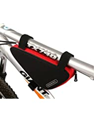ROSWHEEL ciclismo bicicleta bicicleta bolsa de tubo superior bolsa triángulo delantero silla bolsa de marco al aire libre, negro /rojo
