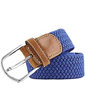 MESHIKAIER Puro Color Unisex Trenzado Cinturón Mujer Hombre Elástico Cinturón Casual Tejido Cinturón + PU Cuero...