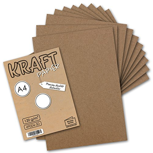 50 Blatt I Vintage Kraftpapier DIN A4 120 g/m² braunes Recycling-Papier, 100% ökologisch Brief-Bogen - Briefpapier I UmWelt by GUSTAV NEUSER® 100 Bögen
