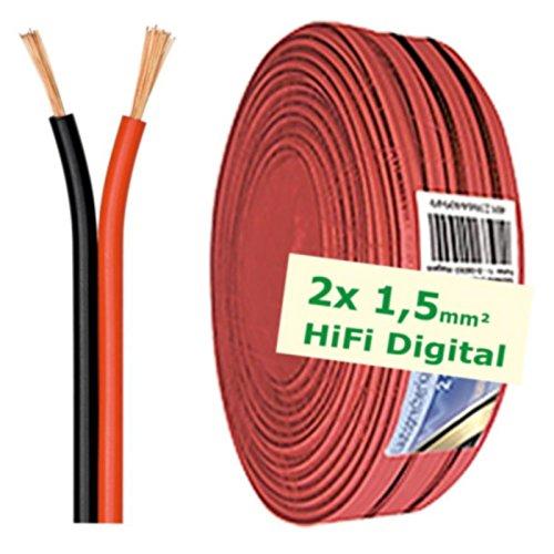 erenLINE® 50 m Lautsprecher-Kabel 2X 1,5 mm² rot/schwarz; Boxenkabel; Lautsprecher-Verlegekabel: für HiFi Anlage, Home Cinema, KFZ/Auto, Multi-Media; Meterware