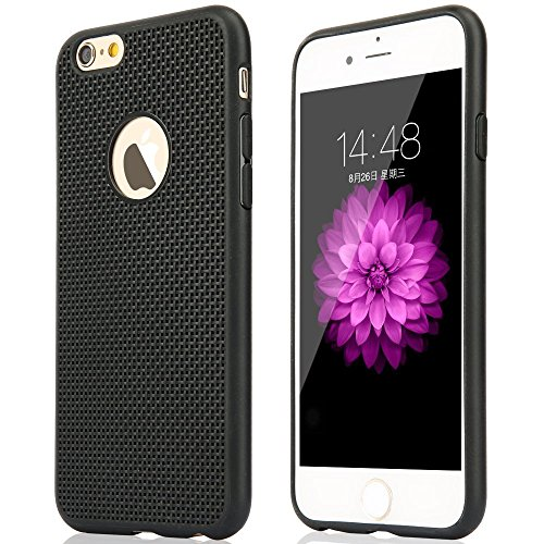 Cables Kart™ Soft Silicone Grid Design Back Case Cover For iPhone 6 / 6s (BLACK)
