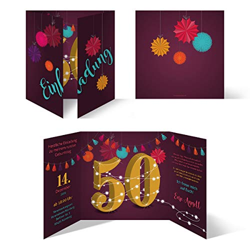 20 x Runder 50. Geburtstag individuelle Einladungskarten Einladungen - Girlande