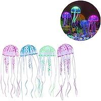 ZNN Acuario de Medusa Brillante Artificial para Acuario Peces Tanque Acuario Ornamento Decoraciones,Green