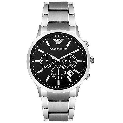 Emporio Armani Herren-ar2434schwarz Zifferblatt Edelstahl Armband Classic Armbanduhr