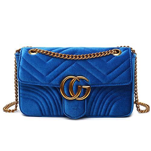 Schultertasche aus Samt, gesteppt, mit verstellbarer Goldkette für Damen, Teenager, Mädchen Gr. Einheitsgröße, Velvet Blue (Blue Mädchen Velvet)