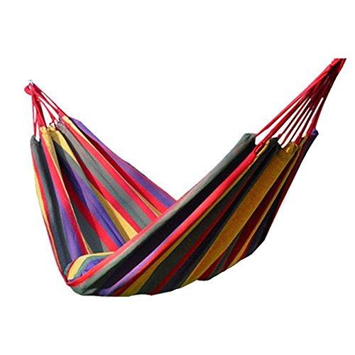 Camping Hängematte Stoga Bunte multifunktionale Hängematte Baumwollgewebe Travel Camping Hängematte 2 Person 450lbs für Schlafzimmer Indoor Hängematte Chair Bed Outdoor-Rot