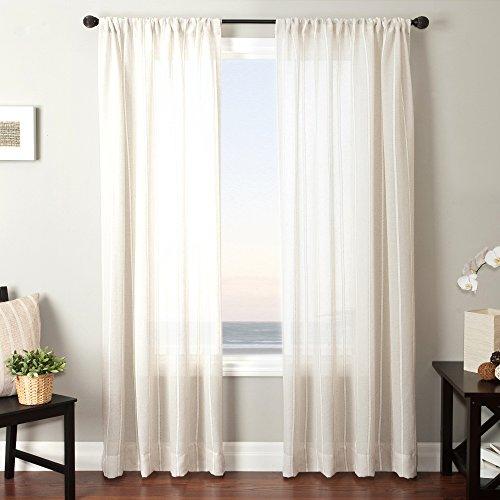 Softline Home Fashions Bahamas 6Serie natur Fenster Vorhang/Fall/Panel//Behandlung Traditionelle Gestreift Design 139,7cm W x 243,8cm H mit Stab Pocket -
