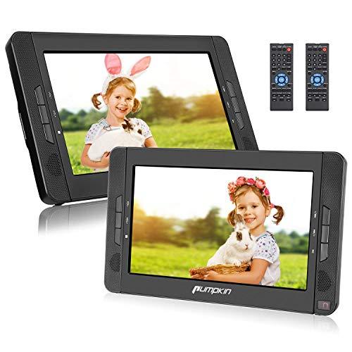 Pumpkin - Lettore DVD portatile per auto, doppio schermo di poggiatesta per bambini, 10,1 pollici, supporta USB, SD, MMC, autonomia di 5 ore, con cinghia di fissaggio in auto
