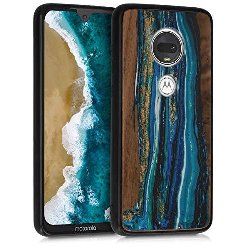 kwmobile Holz Schutzhülle für Motorola Moto G7 / Moto G7 Plus - Hardcase Hülle mit TPU Bumper Walnussholz in Holz Farbbrush Design Blau Braun - Handy Case Cover -