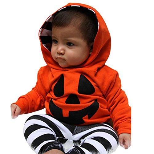 Hiroo halloween zucca stampa toddler ragazze ragazzi manica lunga felpa con cappuccio + striscia pantaloni set di abiti (90, arancione)