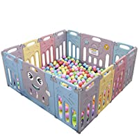 Baby Playpen, Foldable Playpen with Activity Center Safety Play Yard for Babies and Kids - 14 Panel HDPE Indoor Outdoor Playards Fence Set