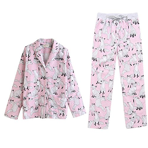 DMMSS Donne Carino maniche lunghe Sleepwear 2 pezzi Pajama Set Nighty , figure color , l - Terry Bambino Bambola