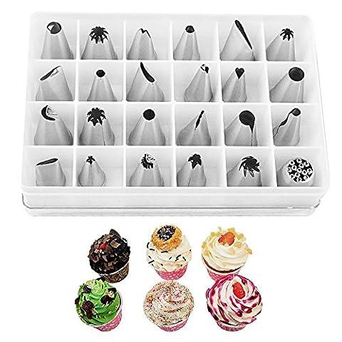 Yihya Edelstahl 24 PCs Küchenchef Bakers Tortendeko Spritztüllen Garniertülle Kuchen Pastry Tipps Tool Aufbewahrungsbox Box Set mit Kuppler Kupplung Am besten für Cake Dekoration
