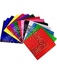 Set of 12 Bandanas Bandana Neck Scarf As Shown in the Photo (Black , White , Red , Lilac, Kelly Green , Lime Green , Pale Pink , Hot Pink , Orange , Yellow , Pale Blue, Dark Blue)