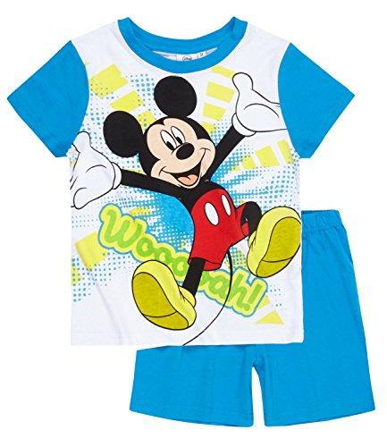 Disney Mickey Mouse Shorty Pyjama 2016 Kollektion (116, Weiss Blau ) (Pyjamas Mickey-mouse-baumwolle)