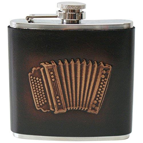 Flachmann Trachtenflachmann Leder Zieharmonika Akkordeon Musiker Taschenflasche Trinkflasche Edelstahl Leder-Ummantelung braun Harmonika Handarbeit pocket flask bottle
