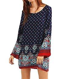 Tunique Femme Manches Longues Imprimé Ample Bohémien Mini Robe Vintage Taille Grande