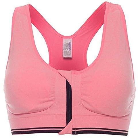 Komfort Damen Push Up mit Buegel Sport BH Stretch Sports Reißverschluss 20643, Farbe:Pink;Größe:XL