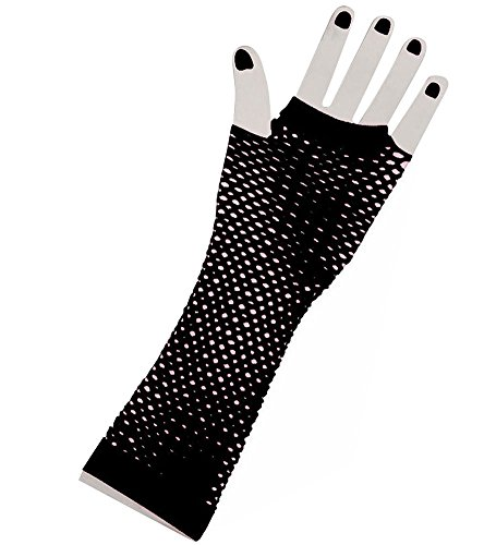 Black Lange Fischnetz Handschuhe Erwachsene - Pop-Diva der -