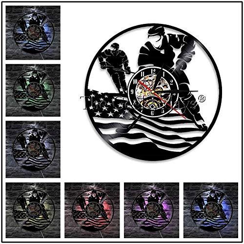 TPYFEI Hockeyspieler Logo Hockeyschläger und Eishockey Schallplatte Wanduhr Hockey Club Team Logo Wandkunst Wanduhr Hockey Fan Geschenk-grün Keine LED