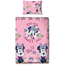 Character World Minnie Mouse - Juego de cama, funda de edredón y almohada