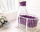 ComfortBaby ® erweiterbares Babybett Kinderbett SmartGrow 7in1 aus MASSIVHOLZ in weiss - multifunktional nutzbar als Laufstall, Beistellbett, Minibett, Stuhl und Tisch Kombination (violet)