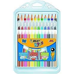 BIC Kids Set para Colorear - 8 rotuladores/8 Lápices para Colorear/12 Ceras, colores Surtidos, Estuche de 36 unidades