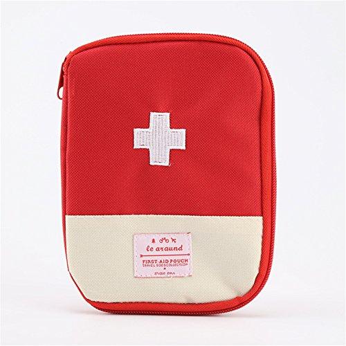 Portable mini pronto soccorso sacchetto di emergenza home travel kit di stoccaggio medicina organizer sacchetto vuoto per attività all'aperto campeggio escursionismo (rosso)