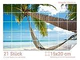 Graz Design 761006_15x20_70 Fliesenaufkleber Strand mit Hängematte | Bad-Fliesen mit Fliesenbildern überkleben (Fliesenmaß: 15x20cm (BxH)//Bild: 105x70cm (BxH))