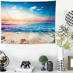 mmzki Paisaje Urbano Moderno Decoración de la Pared Colgante Pintura en la Playa Tapiz Sofá Toalla Mantel A 200x148cm