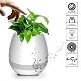 Smart Magic Music Flowerpot with Bluetooth Speaker and LED Light, Best Plant Vase Gift