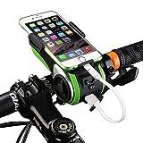 Eximtrade 6in1 Fahrrad Handy Halterung Taschenlampe Vorderlicht Bluetooth Lautsprecher MP3 Musik Freisprecheinrichtung Externe Batterie PowerBank 4400mAh Horn Wasserdicht