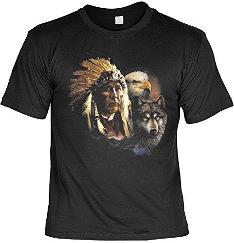Indianer Wolf Adler Motiv: Indianer mit Wolf und Adler (Größe: L) - T-Shirt bedruckt