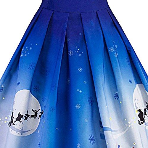 iBaste Vintage Rockabilly Spitze Cocktailkleid Ballkleider Swing Knielang Kleid Partykleider Blau