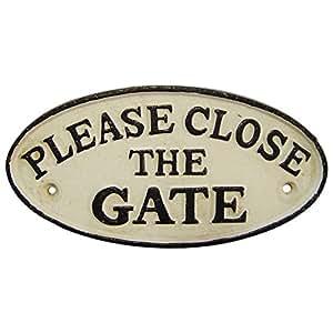 plaque de porte porte panneau fer 39 please close the gate 39 plaque signal tique fermer la porte. Black Bedroom Furniture Sets. Home Design Ideas
