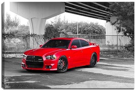 Dodge Charger SRT - conception noire / blanc avec des éléments de couleur sur la toile dans le format: 60x40 cm. Art impression de haute qualité comme une fresque. Moins cher qu'une peinture à l'huile! ATTENTION Aucune affiche!